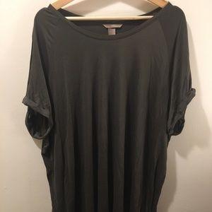 Adorable Oversized Olive T-Shirt Dress